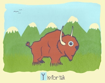 Alphabet Print Animal Nursery Art - Y is for Yak - hand screenprinted Animal Art Print