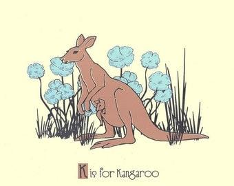K is for Kangaroo Screenprint - Nursery Art Alphabet Print -  Silkscreen Animal Art Print Poster Kids Wall Art