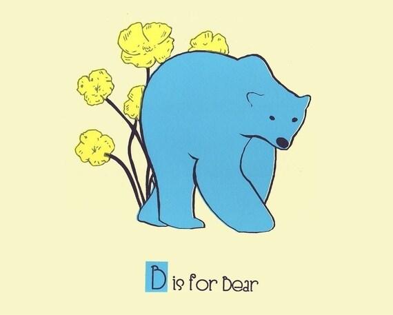 B is for Bear,  Alphabet Print - hand screenprinted