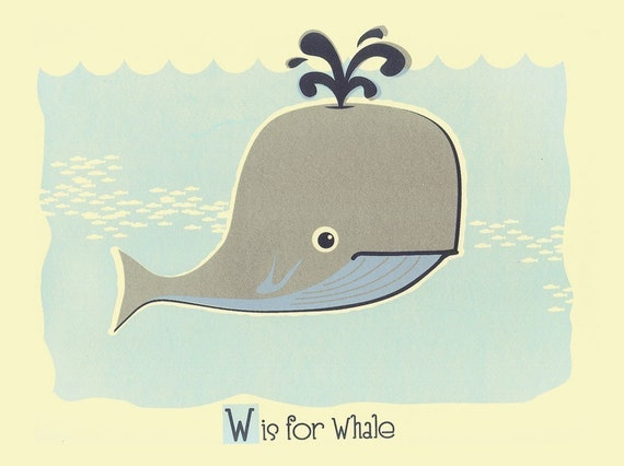 W is for Whale Screenprint Nursery Art Print - Alphabet Letter Poster - Silkscreen Animal Kids Wall Art Print