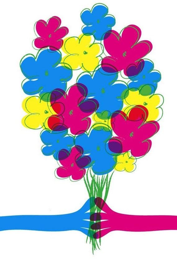 Summer Flower art print - hand screenprinted limited edition silkscreen - ALMOST sold out