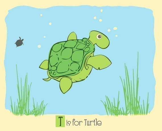 T is for Turtle Screenprint  - Turtle Nursery Print - Alphabet Print - Silkscreen Animal Art Print Kids Wall Art