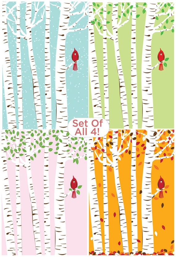Screenprint Poster Set - Cardinal Bird Seasons & Birch Trees Art Print Posters - 4 Seasons Print Set