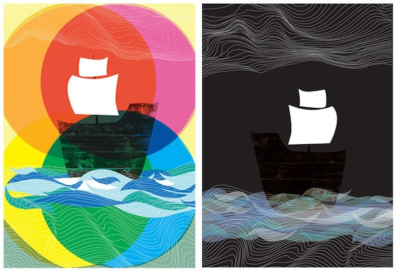Giclee Prints - Ghost Ships Day and Night - Nautical Ships At Sea art prints - 2 print set