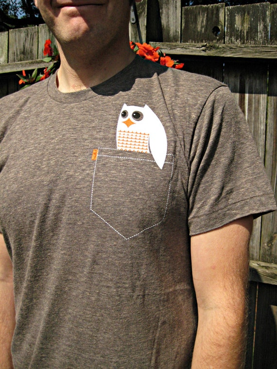 Sweet Owl Tee - Super Soft Pocket P'Owl Adult T-shirt - Unisex Size M