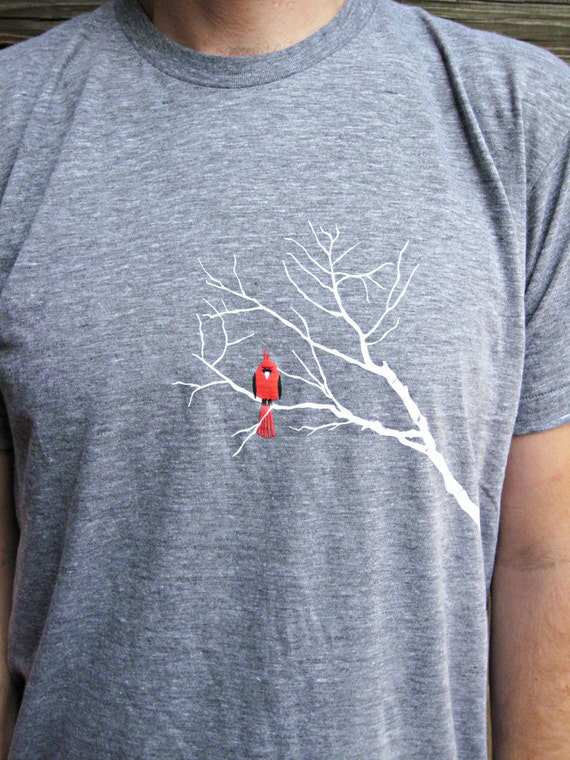 Tshirt - Scarlet Cardinal & Branches Tee - Super Soft Red Bird Adult Tee - Unisex M