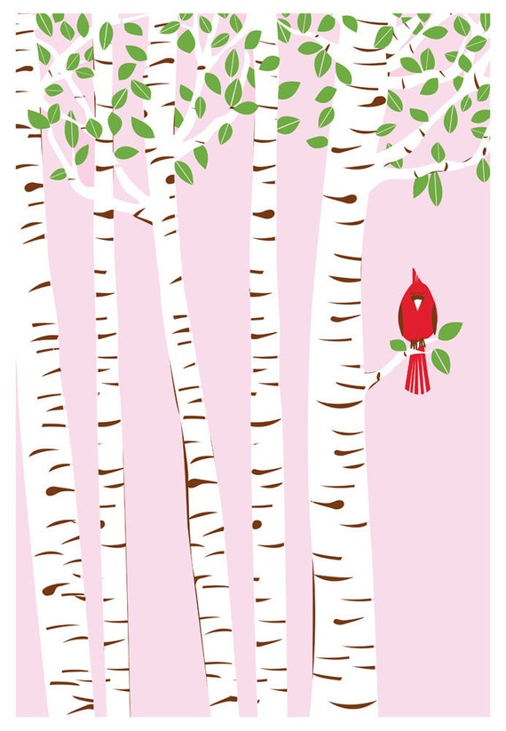 Screenprint Cardinal Art Poster - Summer Cardinal Print - Birch Trees & Red Bird Art Silkscreen Print