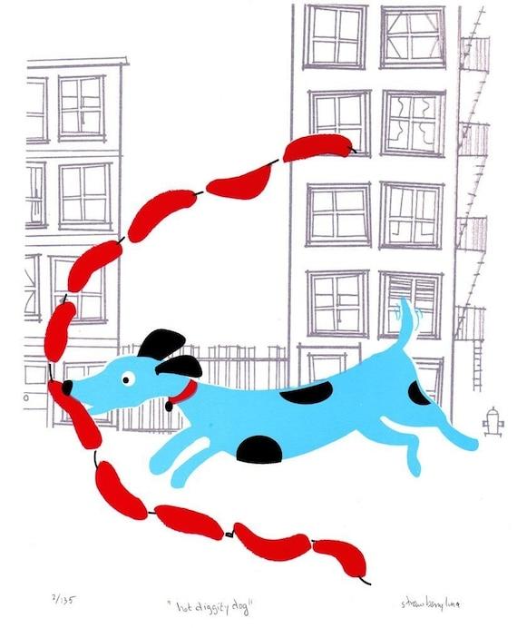 Hot-Diggity-Dog hand screenprinted art print