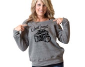 SALE MEDIUM I Shoot People Camera Bella Slouchy Wideneck Sweater