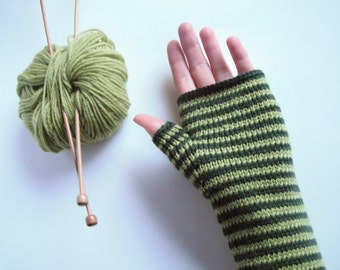 Fingerless Mittens in Kiwi and Forest Green - Wool & Cashmere Hand Knitted Gloves