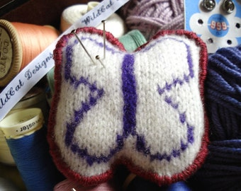 Butterfly Pincushion in Purple - Handmade from Felted Lambswool