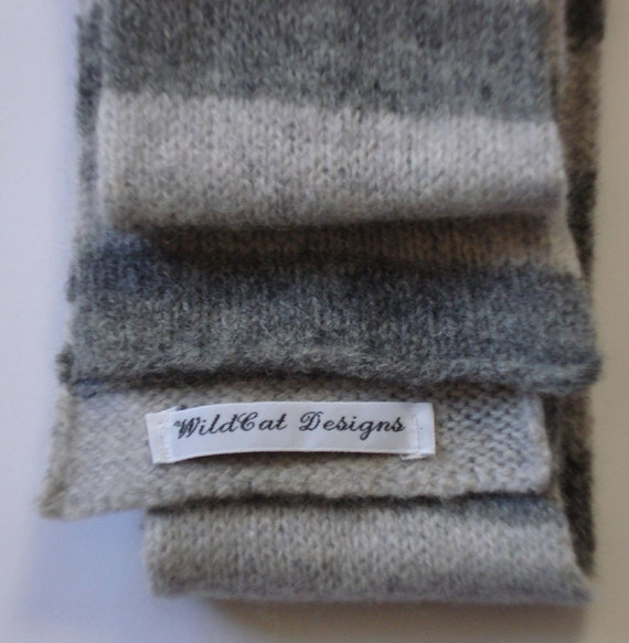 Grey Stripes Skinny Felted Lambswool Scarf
