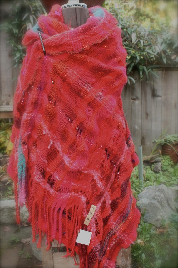 Ruby Wrap in Small, red with touches of pink and turquoise and sparkle