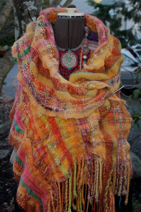 50% OFF, use coupon code justbecause at the checkout Tequila Sunrise, a Large Wrap in vibrant orange with touches of green and pink