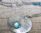 RESERVED Constellation Aquarius Necklace ... Fine Silver Bezel Setting Zodiac Pendant
