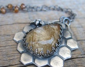Honey Throne Necklace ... Sculpted Fine Silver Bezel with Bee and Gold Rutilated Quartz