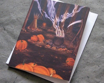 ARTifact - Samhain Halloween Blank Note Card on Matte Linen Paper