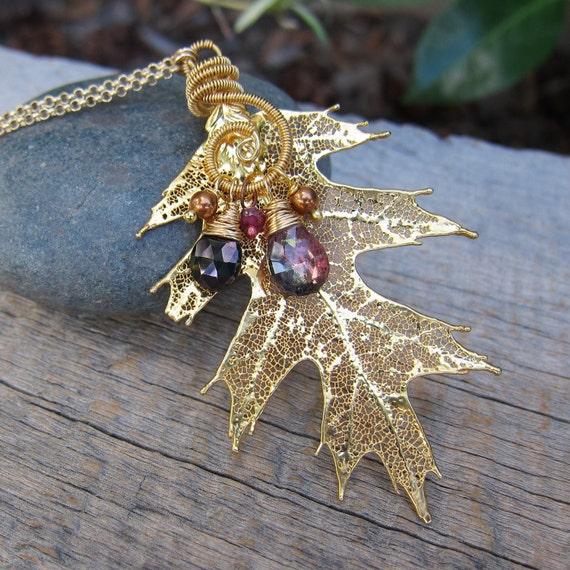 RESERVED for oceanstreetspa - Autumn Rustlings - Harvest Gold Black Oak Leaf Necklace