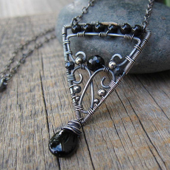 Carpe Noctum Necklace ... Wire Wrapped Arrow Pendant with Onyx and Black Spinel