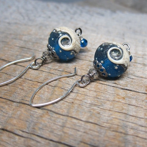 RESERVED Tiamat, Mystery of Chaos Earrings - Ocean Wave Glass with Sterling and Swarovski