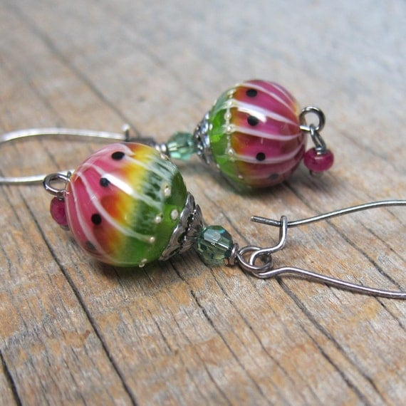 Green Buddhas on the Fruit Stand Earrings - Watermelon Glass Beads with Sterling and Swarovski