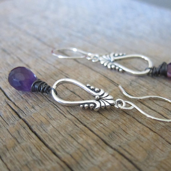 RESERVED Grape Crush Earrings - Juicy African Amethyst with Sterling Silver