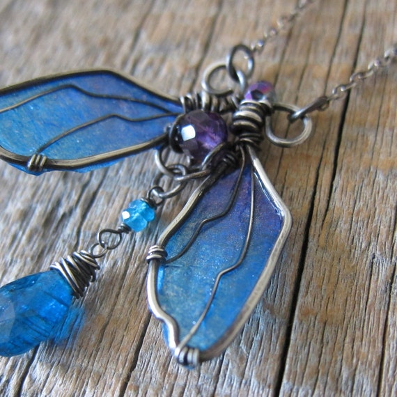 RESERVED Cicada Tears Necklace - Wire Wrapped Sterling Silver Insect with Peacock and Amethyst Wings
