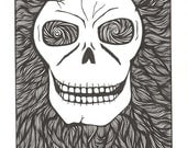 Skull 2 - Original black and white abstract drawing