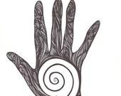 Spiral Hand original black and white art
