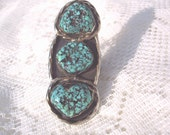 Vintage Native American 3 Stone Turquoise Ring