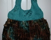Brown Teal Velvet Suede Handbag
