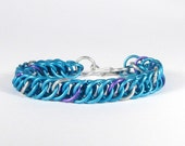 Light Blue Anodised Aluminium Chainmaille Bracelet