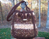 Original Felted Purse in Chocolate Brown and Neutrals