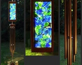 Wind Chime, Cobalt Blue, Green, Stained Glass, Beach Glass, Antiqued Copper