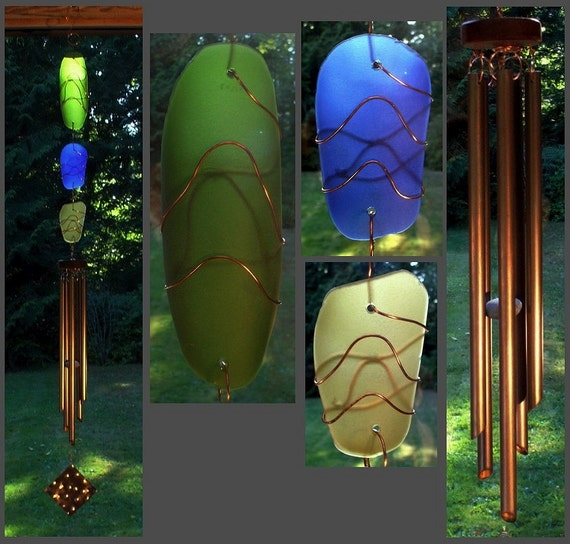 Wind Chime, Stained Glass, Sea Glass, Beach Glass, Windchimes, Windchime, Suncatcher, Copper