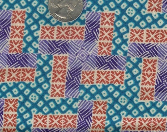 CLEARANCE - Half yard - funky blue purple orange patterned cotton quilt fabric