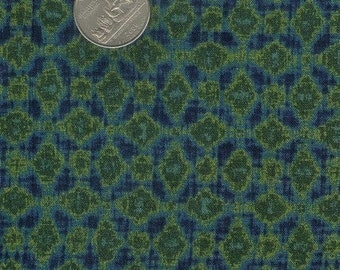 CLEARANCE - Half yard - green and dark blue patterned cotton quilt fabric