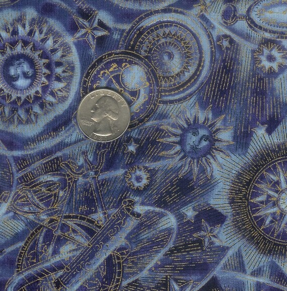 Half yard beautiful dark blue celestial with metallic gold for Celestial fabric by the yard