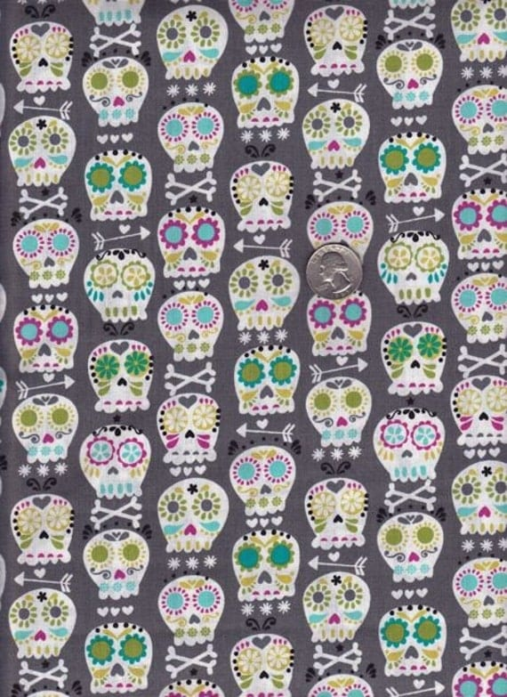 NEW - One yard - Bonehead in Gray - Michael Miller cotton quilt fabric