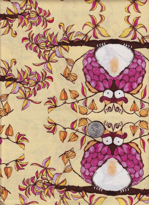 Fat quarter - Opal Owl in Pink -Tina Givens - Opal Owl cotton quilt fabric