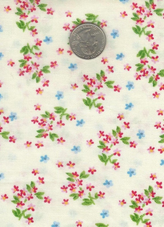 CLEARANCE - Half yard - gorgeous red and blue flowers on white cotton quilt fabric