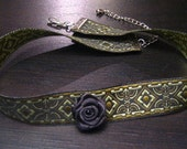Green Victorian Steampunk Ribbon Choker with Black rose