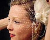 Ivory Birdcage Veil  vintage hollywood - glam wedding - bridal veil - feather fascinator -ethical feathers - custom wedding