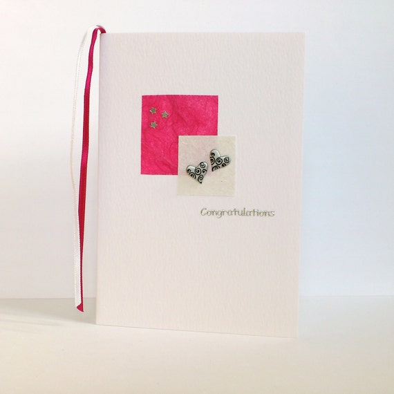Congratulations Card - engagement wedding pink stars hearts - handmade