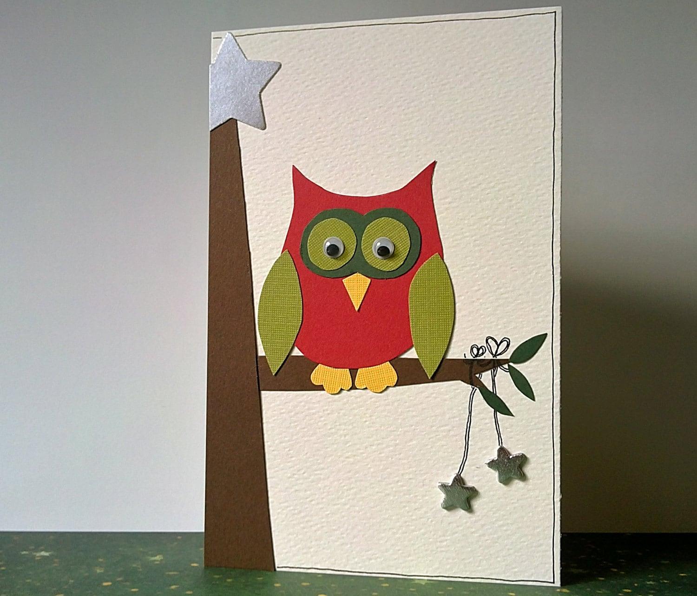 Owl Christmas card festive handmade greeting card SALE 25%