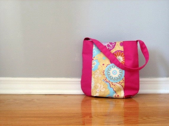 Rounded Shoulder Tote Bag - Fuschia Sugar Snap