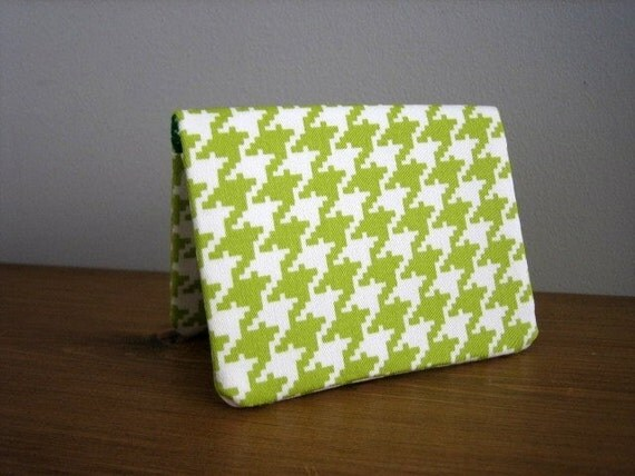 Card Wallet - Lime Houndstooth