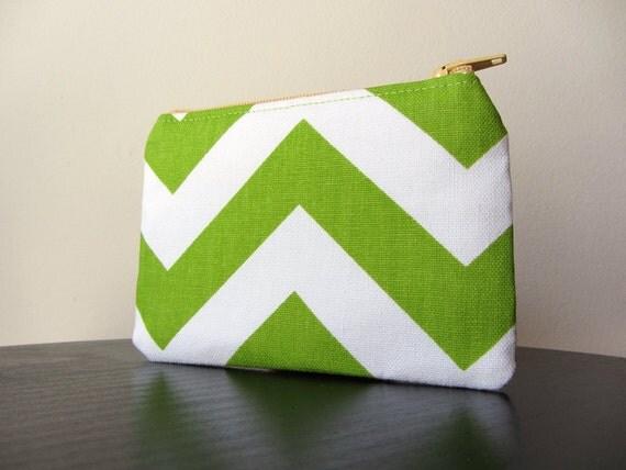 Mini Pouch - Spring Green and White Chevron