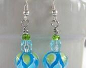 Blue and Green Lampwork Glass Earrings