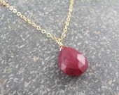 Ruby Necklace / Pendant Necklace / Gemstone Necklace / Pink Necklace / Simple Necklace / Gold Necklace / 14k Gold Fill // SRAJD
